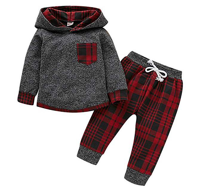 Kids Baby Boys Girls Fall Outfit Plaid Pocket Hoodie