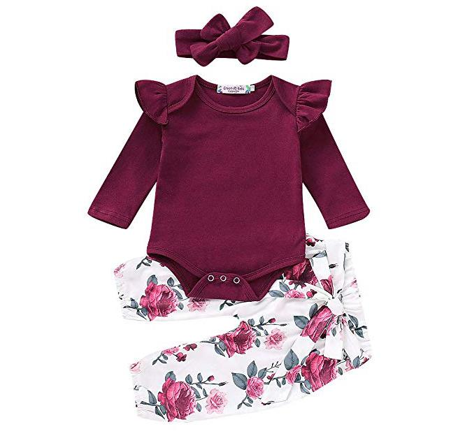 3PCS Infant Toddler Baby Girl Clothes Ruffle Romper Bodysuit