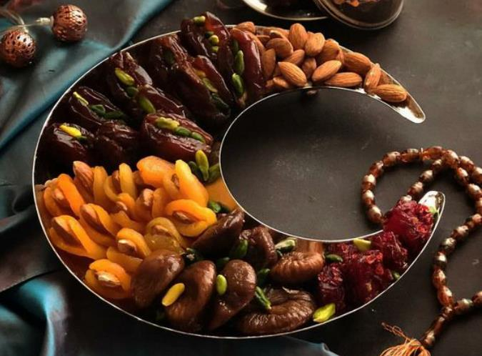 Crescent moon shaped Dry Fruit Platter