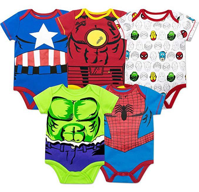 Marvel Baby Boys' 5 Pack Bodysuits
