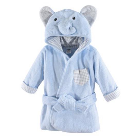 Hudson Baby Unisex Baby Plush Animal Face Robe, Blue Elephant
