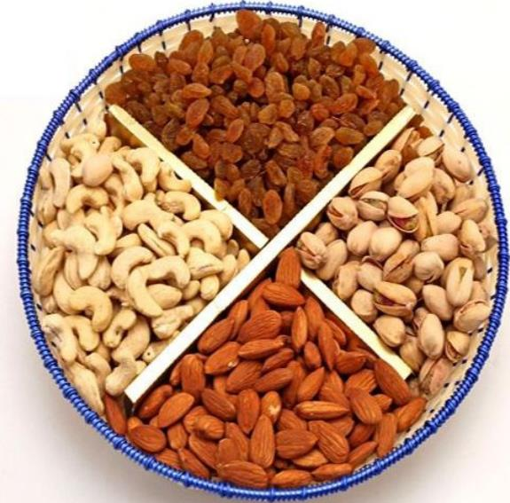 4-Part Circle dry fruit platter