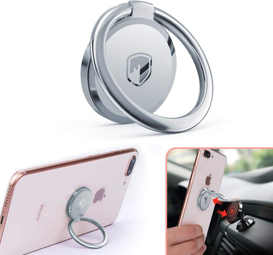 Phone Ring Stand - FITFORT 360° Rotation Metal Ring Grip
