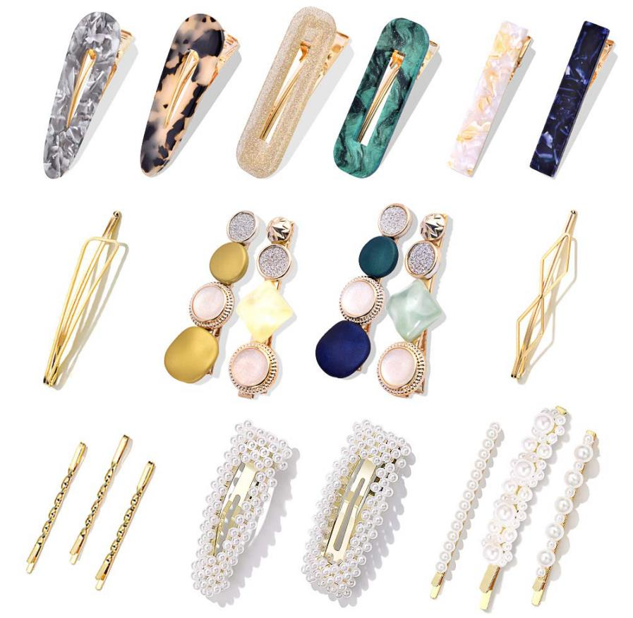 Fashion Korean Style Pearls Hair Barrettes Sweet Artificial Macaron Acrylic Resin Barrettes Hairpins for Women