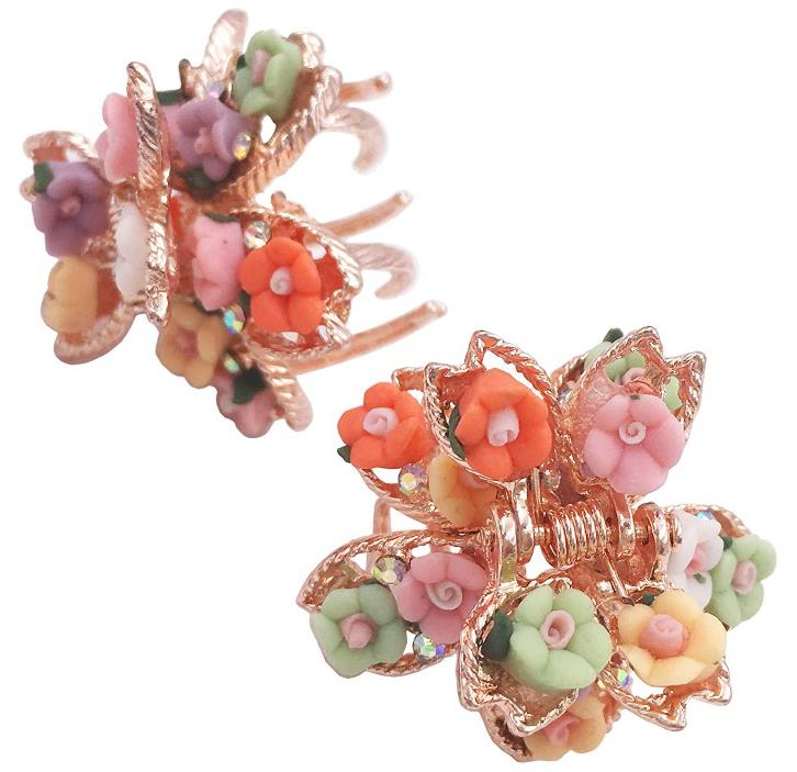 Mini Flower Hair Claw Clip Grip Metal Clamp