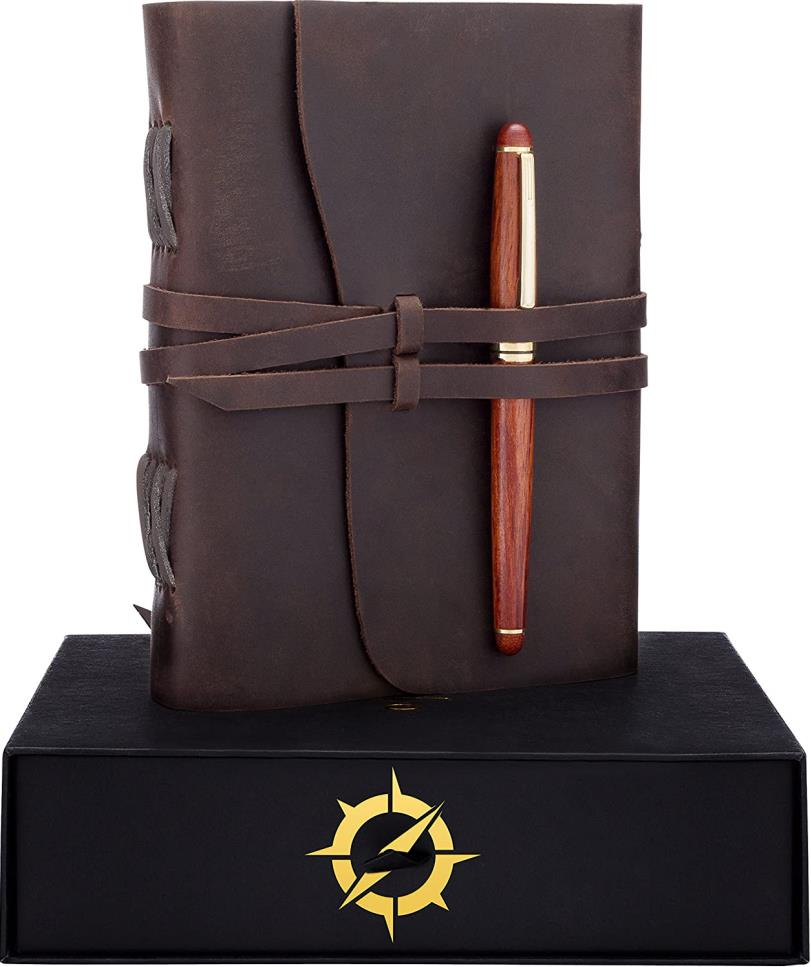 Leather Journal Gift Set Rosewood Pen