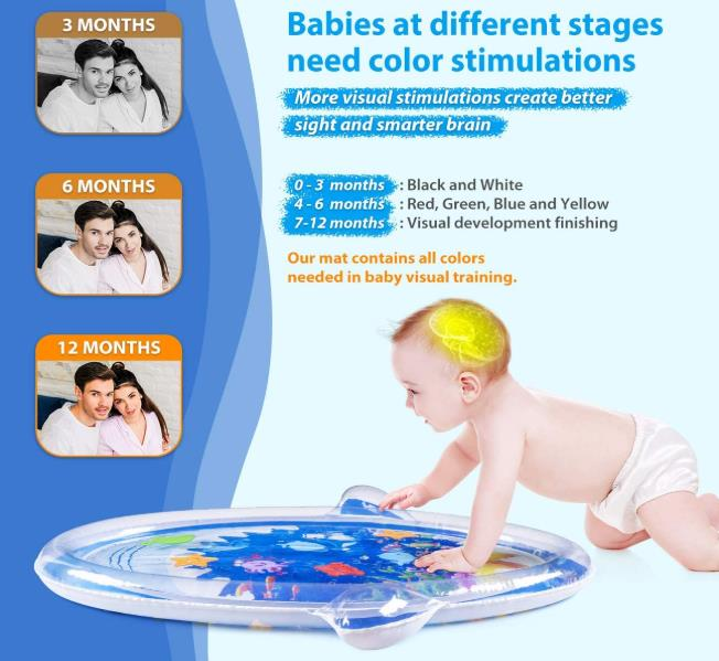 Tummy Time Baby Water Mat, Infant Toys