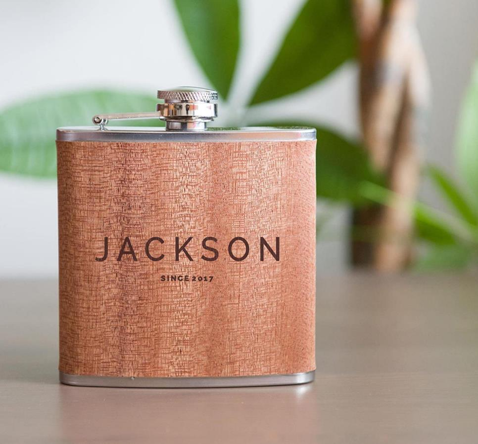 Personalized Flask - Real Wood
