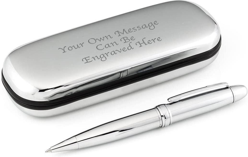 Personalised Luxury Silver Pen and Chrome Case