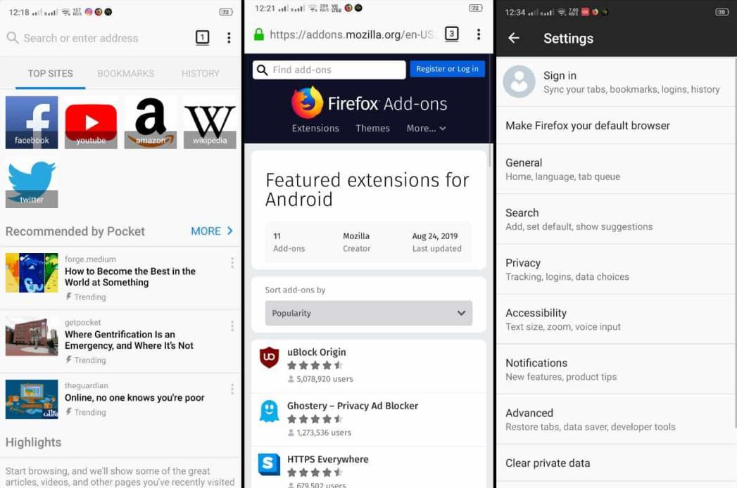 Mozilla Firefox Android app